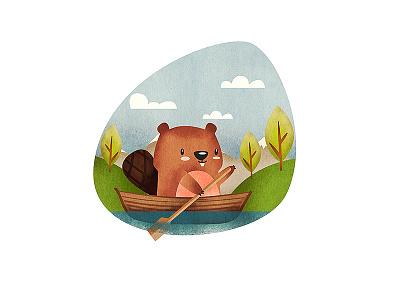 Beaver Character print children book animation illustration boat mexico levi ortiz character beaver