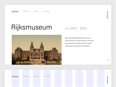 Rijksmuseum (State Museum, Amsterdam) sketch minimal grid magazine editorial clean rijsksmuseum amsterdam layout acumin typography type
