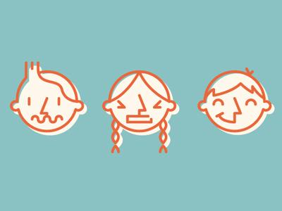 Color & composition faces orange blue line
