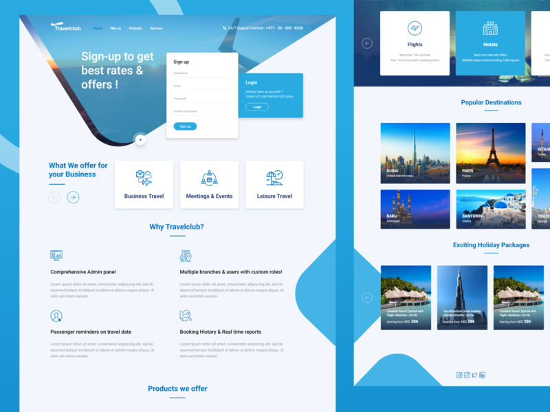 Marketing Page ! offers signup ui design marketing landing page travel