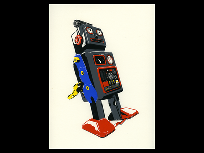 Other People wind up toy robot illustration procreate poster madeonipad madeatlillstreet chicago screenprint