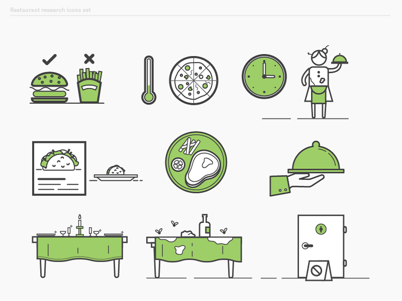 Diners survey ebook icons set 1 icons design flat food delivery illustrator illustration