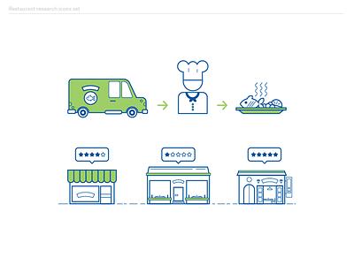 Diners survey ebook icons set 2 icons design flat food delivery illustrator illustration