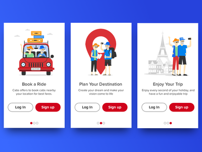 User onboarding screen carousal sign up login ride vacation holiday destination trip plan
