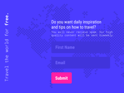 Travel Tips Website Signup Page