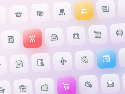 Simple icon pack colorful colour color minimal iconography icon design icon set icon
