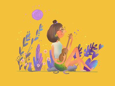 She smelled of daisies cat ukulele summer illustration character