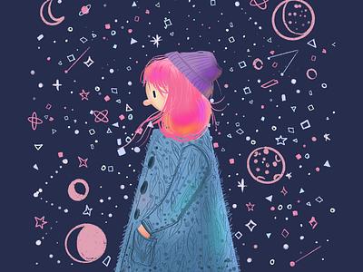Mercury Retrograde winter kawaii ipad stars astrology pink hair moon illustration character