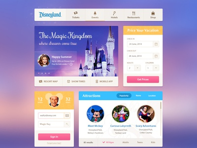 Disneyland UI Kit ui interface kit disneyland disney slider icons sign in menu kingdom magic mickey mouse