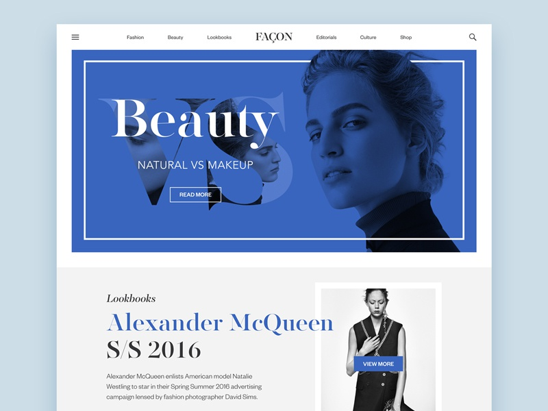 Façon Magazine web interface concept editorial news beauty website magazine fashion design