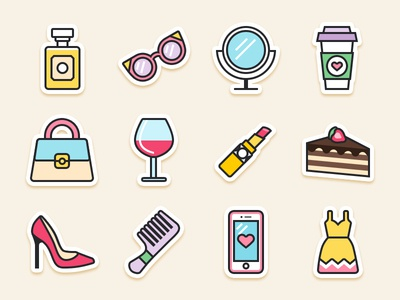 Girls Survival Kit design fashion sticker icon kit illustration shapes girl survival iconography vector