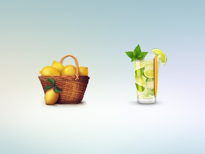icons for Lemon Project icons lemon mojito photoshop basket yellow green pen lime ice mint glass illustration
