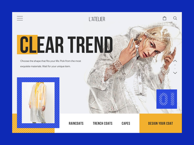 L'Atelier Couture House Homepage Animation interaction e-commerce shop handcraft ux webdesign atelier layout design motion animation web concept ui fashion interface