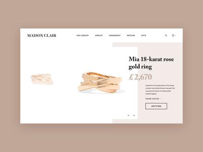 Maison Clair Jewelry Product Page With Video Preview product page product web design fashion video animation video motion animation jewelry jewelry store luxury web design concept layout ux motion animation ui interface