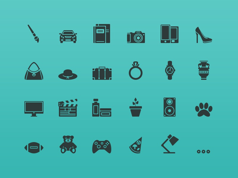 64px Icons shopping categories category glyph icons icon art auto books camera cell phone shoes bags hat jewelry watches computer movie beauty garden music pets sports toys games food office sports toys