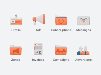 Advertising Icons icons icon advertising profile ads subscriptions messages zones invoices campaigns advertisers