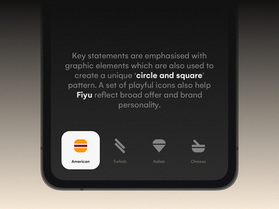 Fiyu - Logotype, Application & Layout Icons kit aid hamburger icon application food delivery red custom logotype 3d