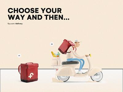 Fiyu - Starter EAT/KIT scooter application red bag delivery food 3d kit starter