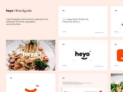 Heyo / Food Delivery App - Guideline app application icon hey smile food delivery book style guide branding design symbol logo