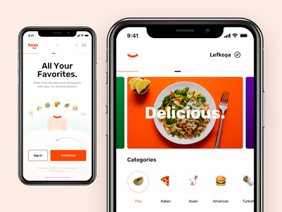 Heyo / Food Delivery App - IOS Screens taygun hey smile iphonex detail product discover cta navigation basket order delivery food category landing ios application ux ui