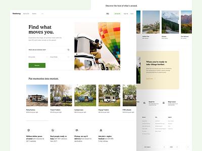 Outdoorsy - New Landing Page Concept owner rental tent trailer caravan campervan camper camp outdoorsy outdoor design ui
