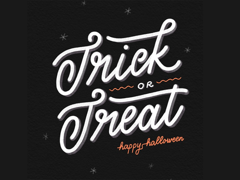 Trick or Treat october spooky hand-lettering trick or treat lettering halloween