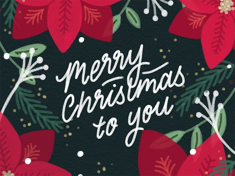 Merry Christmas To You christmas cards holidays christmas type hand-lettering lettering design