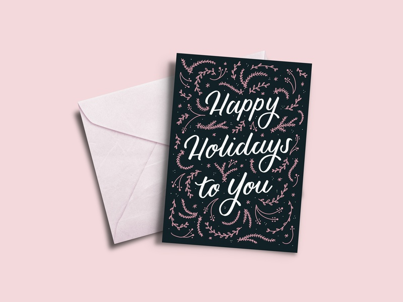 Happy Holidays christmas card holidays hand crafted hand lettering design lettering