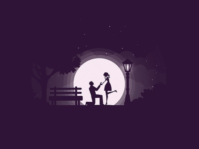 The Proposal park pair night moonlight moon love ring propose date couple