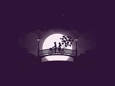 Just Married pair moonlight love heart bridge bicycle cycle married moon honeymoon date couple