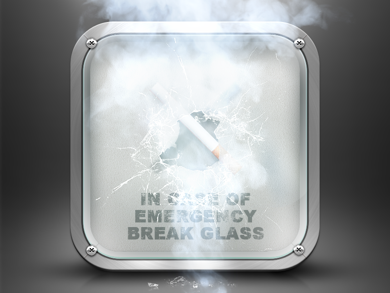 Break the glass ios ico iphone photoshop mobile app cigarette ios7