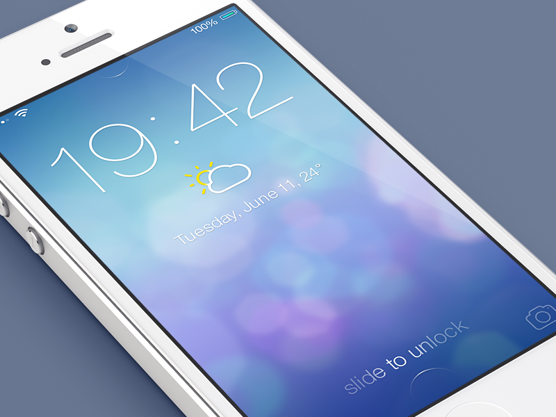 iOS7 Lock screen v2 - Redesign ios7 ios 7 ico icons iphone mobile lock screen redesign weather