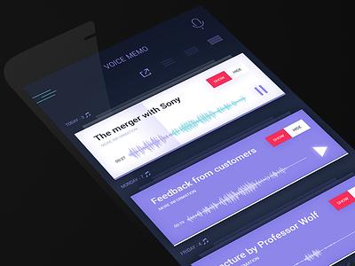 Recording panel memo menu iphone calendar ux ui share record mobile ios voice sound