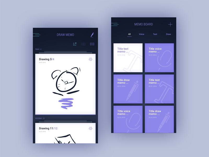 Memo Board text voice icons memo menu ux ui settings mobile ios draw