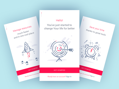 Onboarding Screens illustration gif animation time sign in landing ux ui user ios onboarding intro