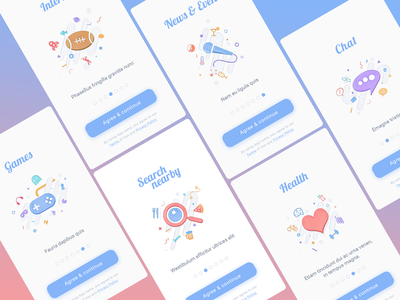 Onboarding Illustrations ux ui ios news games search chat health illustrations onboarding