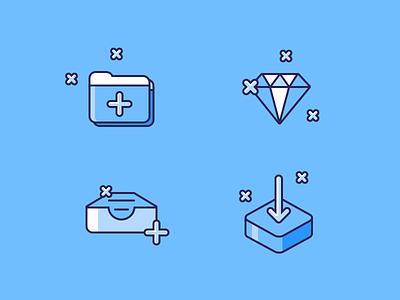 Set of icons shiner blue flat add diamond upload folder website vector logo illustration icons icon ui ico