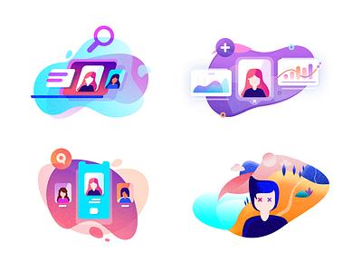 Social Illustrations ranks search logo design multi color cloud laptop stats fans social illustration vector flat icons ui mini icons ico photoshop location minimal