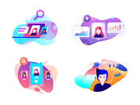 Social Illustrations ranks search logo design multi color cloud laptop stats fans social illustration vector flat icons ui mini icons ico photoshop location minimal
