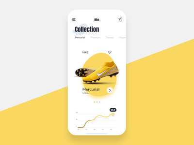 Shoe App Concept size colors filters collection graph shoose shoe brand buy like interface mobile app icon ux application ui ios menu ico