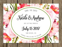 Boho Save the date card with roses in blossom