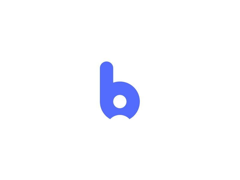 b + person blue logo human resources hr b
