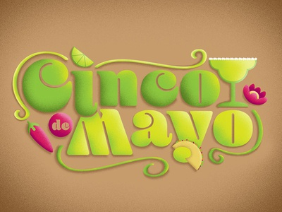 Cinco de Mayo holiday photoshop lime taco pepper illustrator illustration margarita cinco de mayo typogaphy design