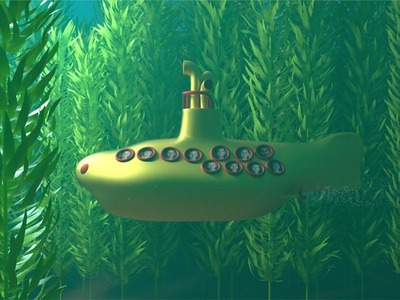 Yellow Submarine | Kelp underwater submarine ocean sea kelp xparticles 3d animation octane design render cinema 4d c4d