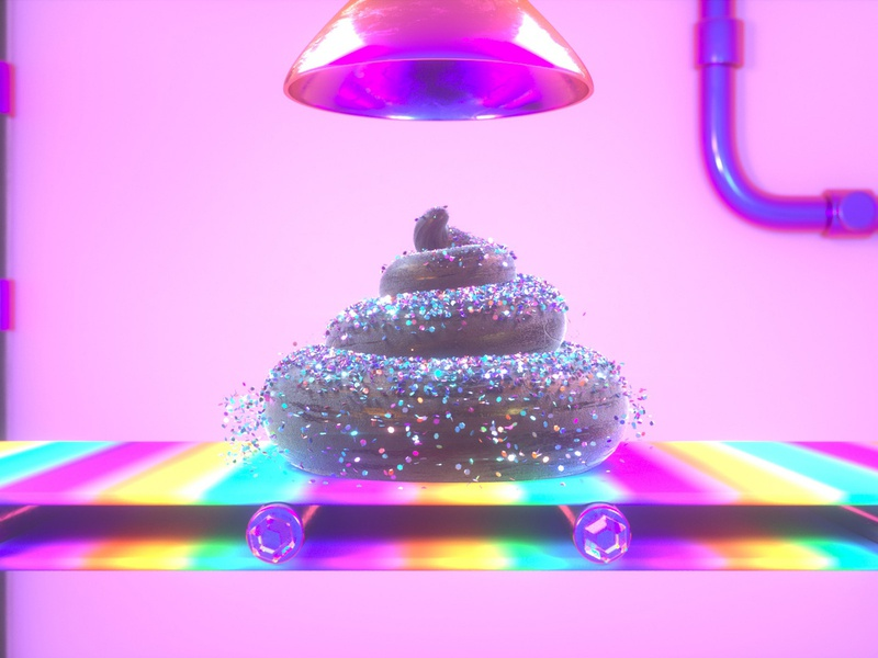 Fudge Factory | Detail Shots colorful factory rainbow poo confetti glitter 3d octane cinema 4d render c4d design