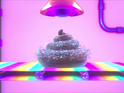 Fudge Factory colorful rainbow fudge factory poo confetti glitter cinema 4d motion 3d octane animation render c4d design
