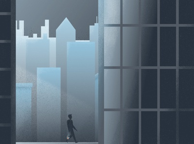 Melio Brand Animation | Frame 1 skyline character walking city noise grain motion frame animation illustration design