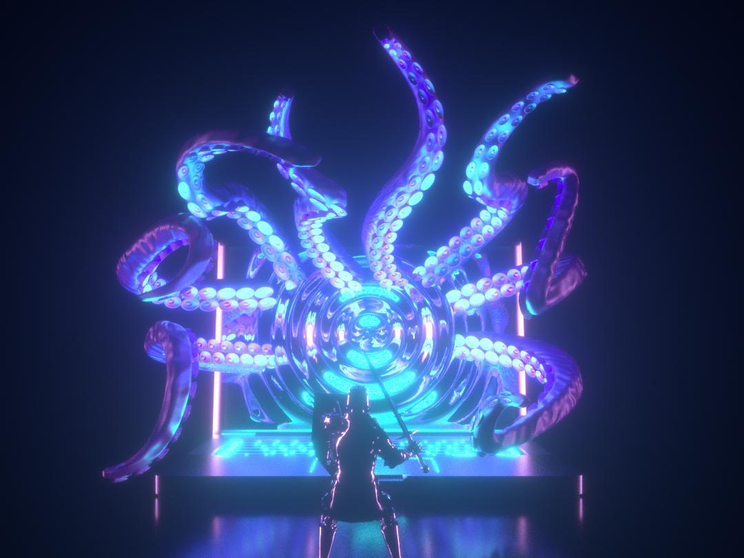 Fight illustration monster vortex styleframe character laptop tentacles modeling design render cinema 4d c4d