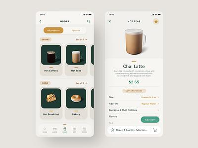 "Starbucks - UX/UI Redesign ""Order page"" discover browse food filter sort buy add checkout order coffee mobile app design tabs digital ui ux uidesign navigation"