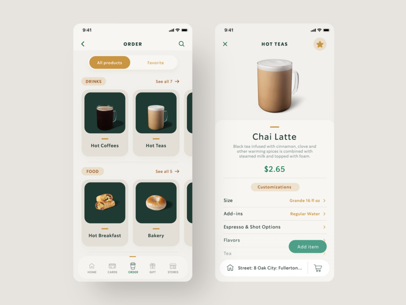 "Starbucks - UX/UI Redesign ""Order page"" discover browse food filter sort buy add checkout order coffee mobile app design tabs digital ui ux uidesign navigation"